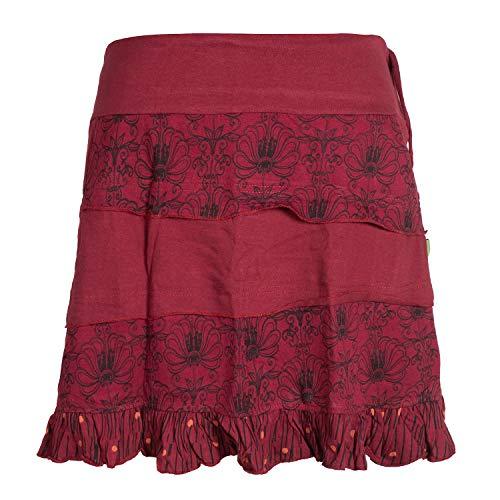 Vishes - Alternative Bekleidung - Damen Patch-Work Rüschen-Rock - Breiter Dehnbarer Bund und Taschen dunkelrot 42-44