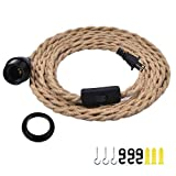 Industrial Pendant Light Cord, 15Ft Plug in Hanging Light Kit with Switch, E26 Vintage Twisted Hemp Rope Pendant Lighting for Farmhouse, Pendant Light Extension, Cable DIY