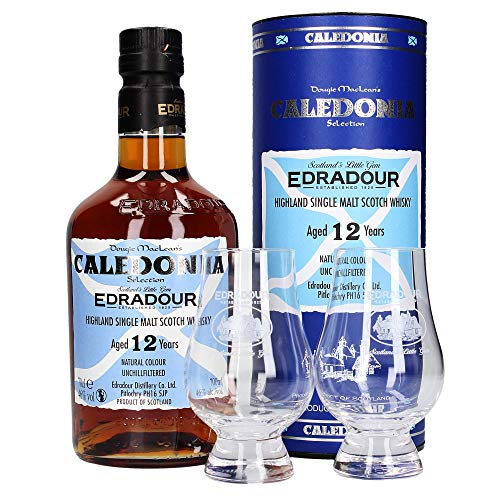 Edradour 12 Jahre Caledonia Single Malt Whisky, 2 Gläser (1 x 0.7 l)