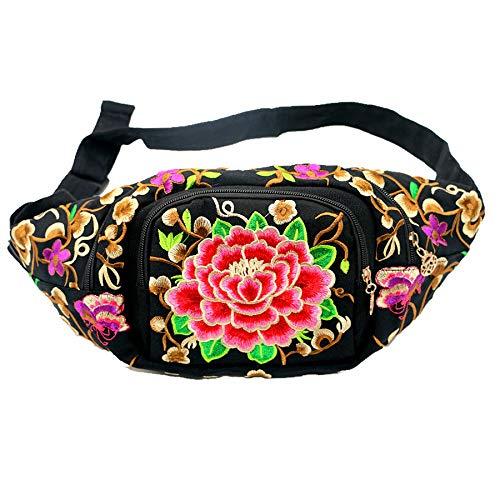 whbage Bauchtasche mit Blumenstickerei für Frauen, Bauchtasche, Ethno-Stil, Handytasche, Teigtasche, Hüfttasche für Damen, Bauchtasche für Mädchen