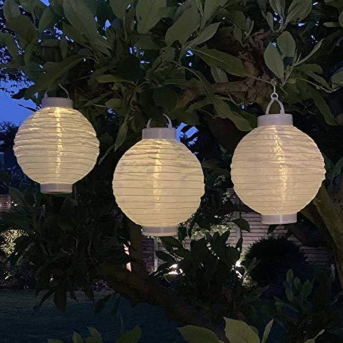zeitzone 3 Stück Solar Lampions Weiß Garten Laterne zum Aufhängen LED Warmweiß Ø 20cm