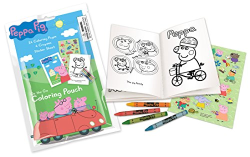 Peppa Pig On The Go Coloring Pouch Activity Set with Stickers, Crayons and Coloring Pages