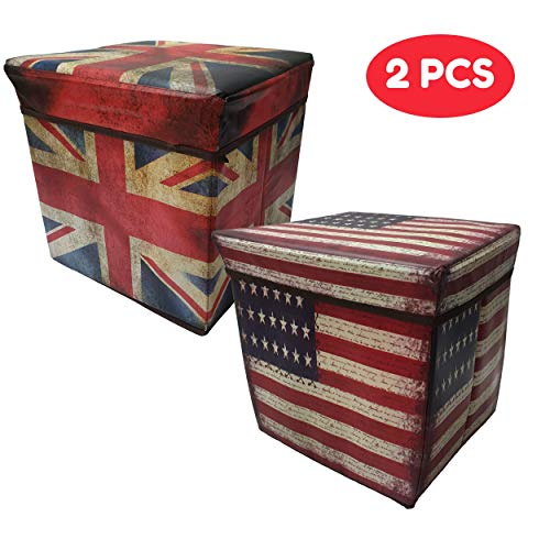 Macro Giant Foldable Storage Stool, Set of 2, USA & UK National Flag Pattern, 11.8 x 11.8 x 11.8 inch, Toy Box, Shoe Bench, Footstool, Clothes, Book Storage