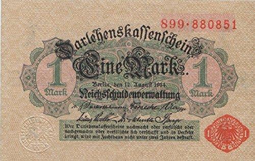 Deutsches Reich Rosenbg: 51c, mit Unterdruck rotes Siegel bankfrisch (I) 1914 1 Mark (Banknoten für Sammler)
