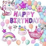 AYUQI Décorations d'anniversaire Licorne pour Enfants, Énormes Ballons Licorne Aluminium avec Gâteau Bannière Couronne Étoile Arc-en-Ciel Ballons Macaron, Fournitures Fête d'anniversaire pour Filles