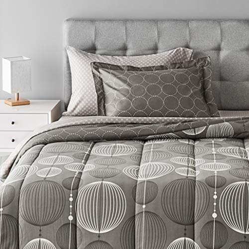 Amazon Basics 5-Piece Light-Weight Microfiber Bed-In-A-Bag Comforter Bedding Set - Twin/Twin XL, Industrial Grey