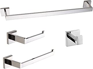 LuckIn 24 Inch 4-Piece Modern Polished Chrome Bathroom Hardware Accessories, Sturdy and Easy to Install, Perfect Match Other Bathroom Fixtures