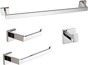 LuckIn Polished Chrome Towel Bar Set, Modern Bathroom Hardware Set, 4 Piece Bathroom Accessories Include 24 Inch Towel Rack, Toilet Paper Holder, Hand Towel Holder, Square Hook