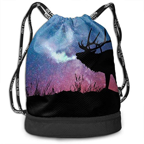 zhangyuB Polyester Bolsa con cordón Theft Proof Water Resistant Large Size Daypack Large Capacity For Basketball, Volleyball, Baseball, Sports Workout Gear (Galaxy Starry Night Elk)