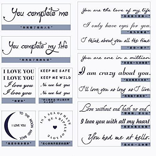 YLGG Love English Short oraciones Pegatinas de Tatuajes temporales de Moda, adecuadas para Hombres y Mujeres, extraíbles (9 Piezas)