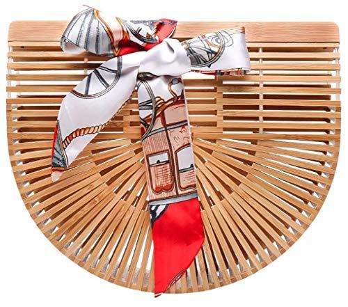 Obosoyo Women's Handmade Bamboo Handbag Summer Beach Sea Tote Bag Beige Small