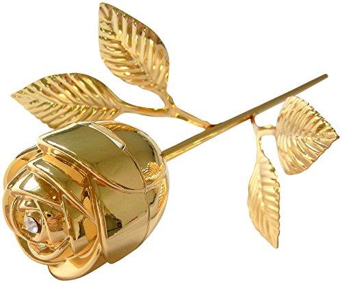 St. Leonhard Rose Gold: Ringschatulle Vergoldete Rose, mit Stiel & Strassstein (Echte Rose vergoldet)