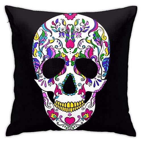 Lsjuee Throw Pillow Cover Vector Colorful Sugar Skull Day Dead Funda de cojín Decorativa Throw Pillow Fundas Protectores 45x45 cm