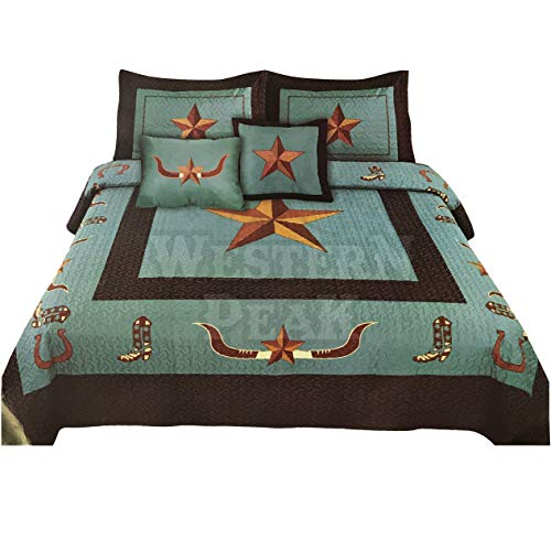 Western Peak Texas Star Longhorn Cowboy Boots Horseshoe 5 Piece Home Bedding Quilt Set (Turquoise, Queen)