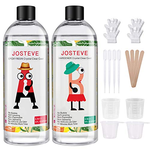 JOSTEVE Epoxy Resin 32OZ-Crystal Art Resin, Resin Kit Epoxy Resin Crystal Clear Casting, Coating for Jewelry Making, River Table, Art, Wood, DIY & Crafts, Easy Mix 1:1 by Volume for Beginner