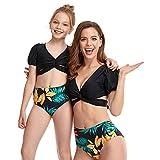 Bonfor Bikini Niña 2-12 años & Bikinis Mujer 2021 Brasileños Braga Alta Leopardo Marca - Ropa de Baño Madre e Hija, Tajes de Baño 2 Piezas (Negro, XL)