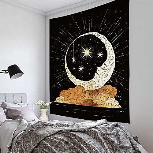 UUAPEERJ Estrellas y Luna Chica Serie en Blanco y Negro Tapiz para el hogar Tapiz de Luna Telón de Fondo Decoración Tapiz Colgante de Pared para Sala de estar-59x51 Pulgadas_Color-D