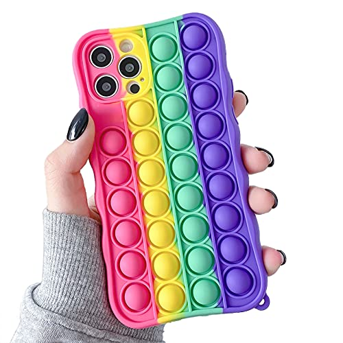 Push Pop Phone Case for iPhone 12 Pro Max Push Pop Bubble Fidget Toys case Rainbow Soft Silicone Shockproof Protective Cover for Apple iPhone 12 Pro Max,6.7 Inch - Red