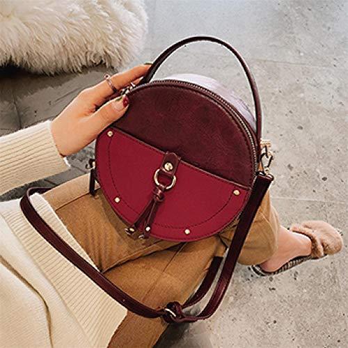 Frauentasche Damen Retro Gefrostetes Leder Runde Designer Umhängetasche Pu Leder Umhängetasche Damen Kleine Handtasche Mini Einkaufstasche 18Cmx18Cmx8Cm Burgund