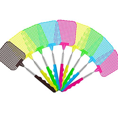 9 stück Fliegenklatsche, Ausziehbare Fliegenklatsche mit Durable Ausziehbarer Griff für Fliegen, Mücken und Insekten (gelegentliche Farbe)