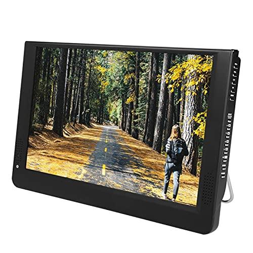 Televisión digital, Antena de televisión portátil HD, Mini reproductor de televisión digital portátil 1080P de 12 pulgadas y 16: 9 LED de televisión digital, Tarjeta de memoria/MMC, con soporte y carg