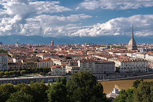 Puzzle per adulti Viste panoramiche della città Cielo Torino Italia Set di puzzle in legno per la famiglia-1000 pezzi