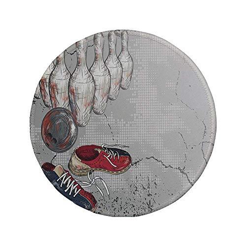 Rutschfreies Gummi-rundes Mauspad Bowling-Party-Dekorationen Bowling-Schuhnadeln und Ball Artistic Grunge-Stil dekorativ hellgrau rot dunkelblau 7.9