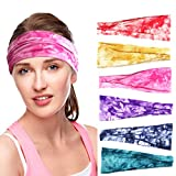 Headbands for Women,6 Pack Yoga Running Headbands Tie Dye Elastic Headwraps Wide Wrap Sweatband for Women Girls Adults