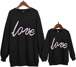 Loalirando Madre e Hija Hijo Sudadera Sin Capucha Camisa de Manga Larga para Estampado Corazón Top Camiseta de Cuello Redondo Primavera Otoño Invierno