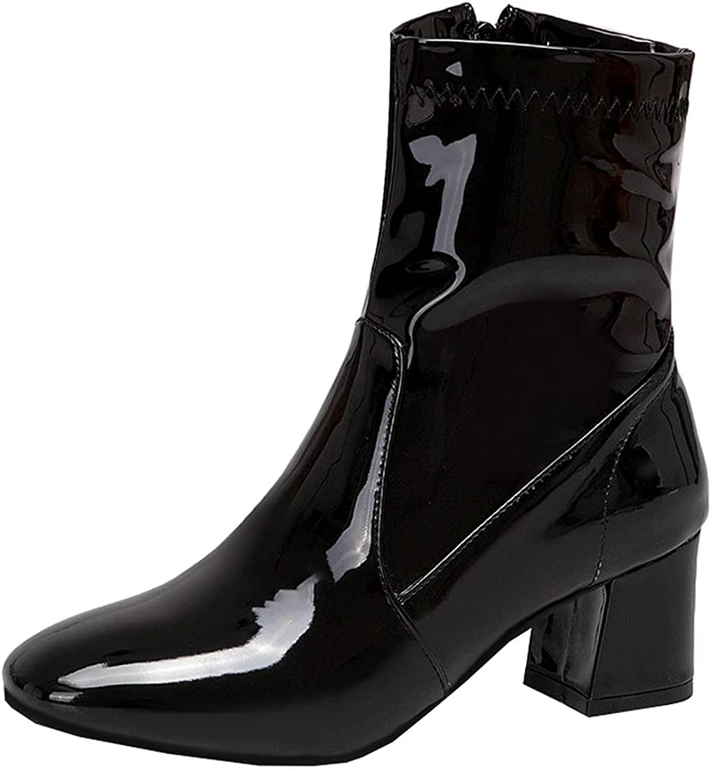 BEAUPAS Women's Patent Max 79% OFF High Heel Boots Chunky Ankle Heels Miami Mall Block