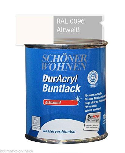 DurAcryl Buntlack Altweiß 125 ml RAL 0096 Glänzend Schöner Wohnen