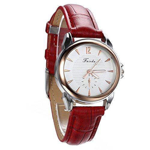 Avaner Damen Armbanduhr Analog Quarzwerk mit Leder Armband Casual Rot Avaner01P
