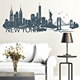 Wandtattoo-Loft 'New Yorker Skyline mit Schriftzug New York/Wandtattoo/Wandsticker/Wandaufkleber / 54 Farben / 3 Größen/schwarz / 55 cm hoch x 140 cm breit
