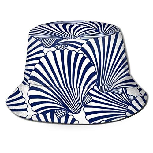 harry wang Sombrero de Pescador con Parte Superior Plana Transpirable Unisex Ocean Blue Scallop Seashells