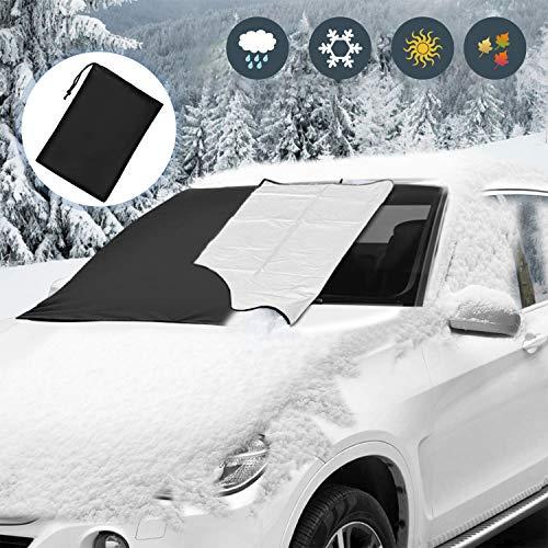 Viedouce Protector para Parabrisas Coche,Cubierta del Parabrisas Coche Magnético Protege de Rayos UV, Escarcha de Nieve,Impermeable Protector Contra el Polvo de Nieve con Ganchos Elásticos-212 x 124cm