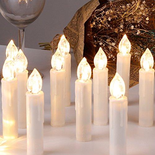 CCLIFE GS/CE LED Weihnachtskerzen Kabellos RGB Kerzen Bunt Weihnachtsbaumkerzen Christbaumkerzen mit Fernbedienung Timer Kerzenlichter, Farbe:Beige, Größe:20er