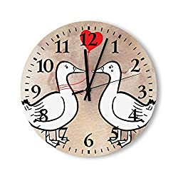 Cartoon Cute Lover Ducks Clock Wall Decor for Bedroom Kids Mothers Fathers Silent Non-Ticking Wood Wall Clocks Round Digital 12 Inch Hanging Clocks Custom Gifts