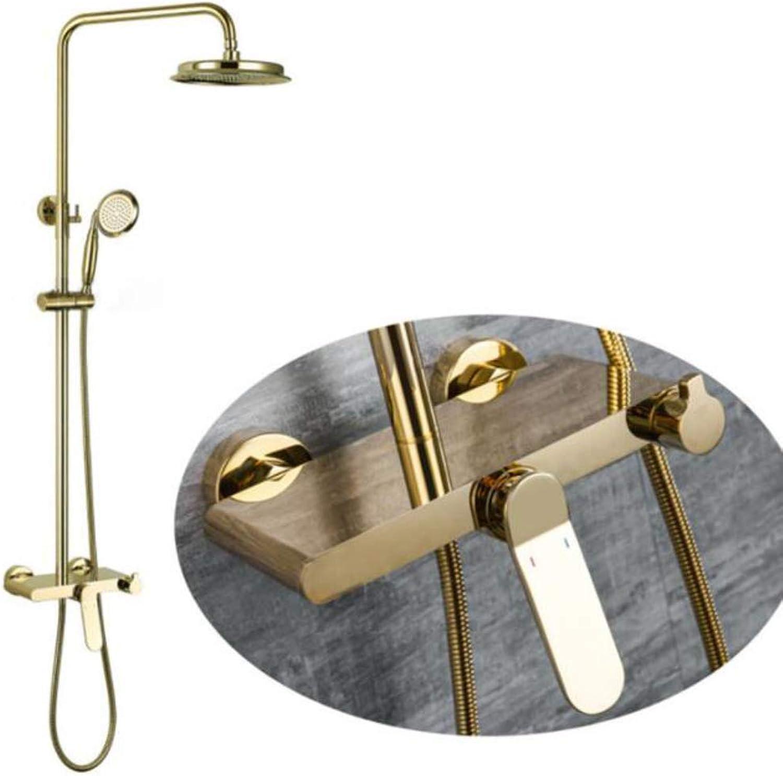BILLY'S HOME Messing Regenduschkopfsystem, 9-Zoll-Regenduschkombiset zur Wandmontage mit Handbrause, Hochdruck, Gold