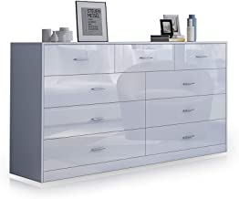 Buffet Sideboard 9 Chest of Drawer Cabinet High Gloss Front Storage Units Bedroom Living Room Furniture White