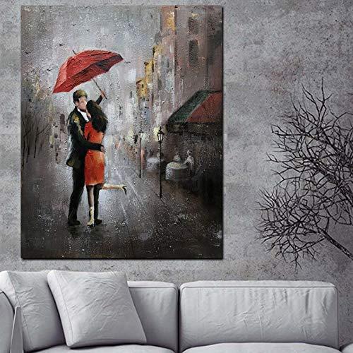 wZUN HD impresión Arte de la Pared Pareja romántica día lluvioso Paisaje de la Calle Cartel Pintura al óleo sobre Lienzo 60X80 Sin Marco