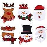 CHEPL Navidad Cubiertos Bolsillos Juego de 6 Portacubiertos Navidad decoración de La Mesa...