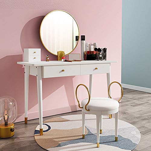 Fantastic Deal! DERTHWER Vanity Table Set, Vanity Table Set with with Mirror and Cushioned Stool Woo...