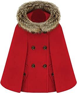 Women Winter Hooded Wool-Blend Double Breasted Faux Fur Collar Capes Pea Coat Red Large