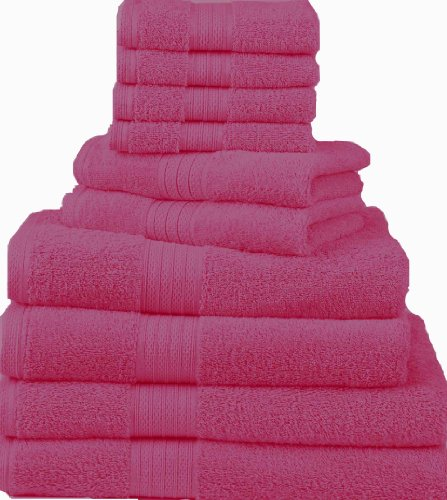 Divatex Home Fashions 12-Piece Complete Towel Sets, Hot Pink
