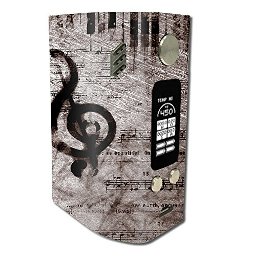 Skin Decal Vinyl Wrap for Wismec Reuleaux RX300 Vape Mod stickers skins cover / Vintage Piano Key Music Notes book page