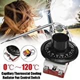 Capillary Car Thermostat, TS-120SR Cooling Radiator Fan Temperature Control Switch, Adjustable 0-120°C...