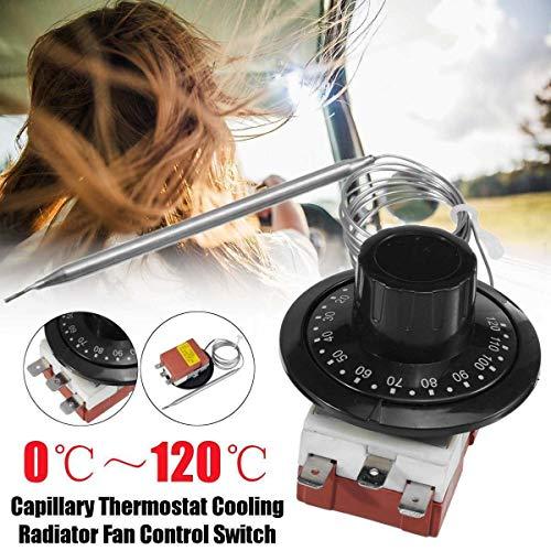 HugeAuto Termostato Capilar para Coche, Interruptor de Control de Temperatura del Ventilador del Radiador de Refrigeración TS-120SR, Calefacción/Refrigeración Ajustable de 0-120 ° C