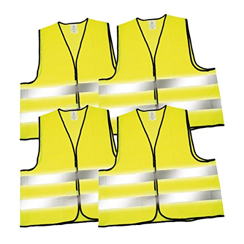 elasto form KG elasto form Warnwesten 4er-Set nach EN ISO 20471 Zertifiziert Warnweste neon-gelb Größe XXL mit Reflektorstreifen