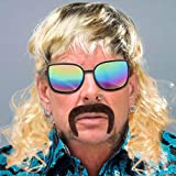 CY2SIDE 12PCS Tiger King Cosplay Pack for Men, Wig and Mustache for Men, Tiger King Party Supplies, Tiger King Costume Set, with a Blond Wig, Ear Clips, Sunglasses, Brown Fake Mustache, Cross Necklace