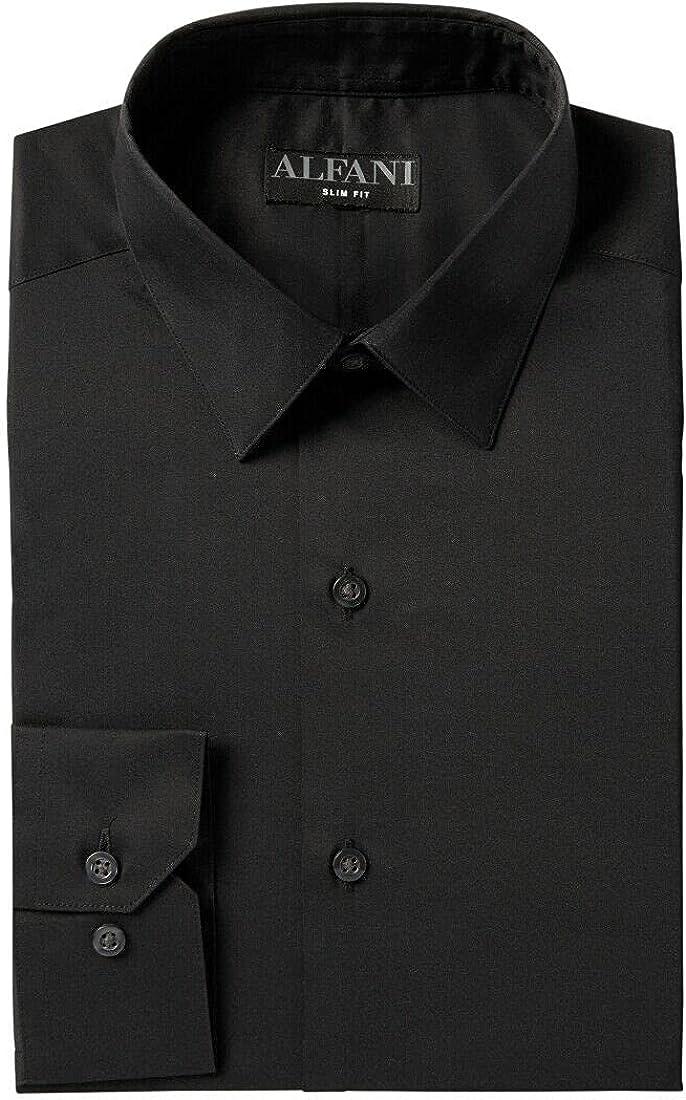 Alfani Mens Black Collared Slim Fit Dress Shirt M 15/15.5-34/35